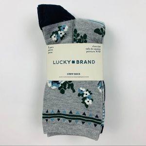 Lucky Brand 3 Pack Women's Crew Socks Sz 9-11